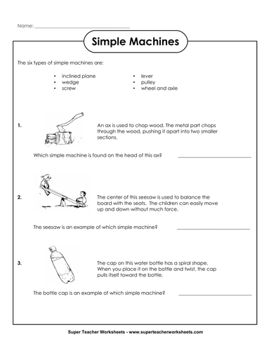Simple Machines worksheet for 2nd and 3rd graders