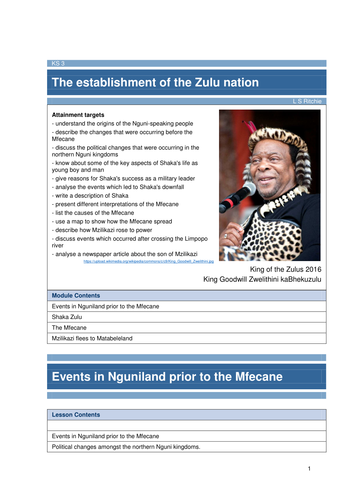 The establishment of the Zulu nation