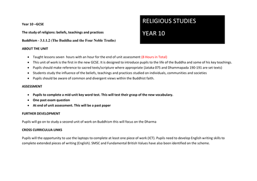 Unit/Scheme of Work for New Aqa Spec A Religious Studies Buddhism