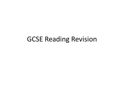 GCSE French Reading Exam Revision