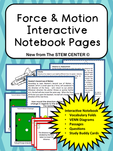 Force And Motion Interactive Notebook By Stemcenter Teaching