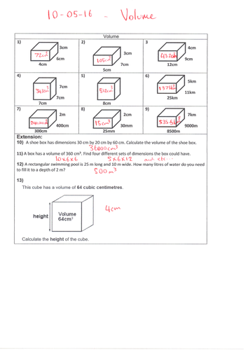 Volume of 3D shapes - cube - cuboid by trabzonunal | Teaching Resources