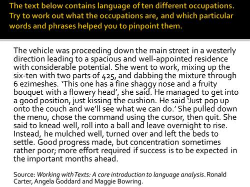 Language and Occupation new AQA AS Level English Language Paper 2  (Language Diversity)