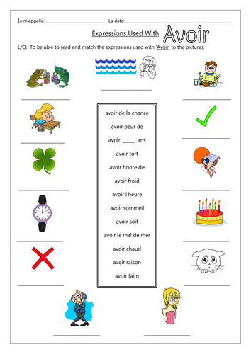 FRENCH - Expressions used with AVOIR - Worksheets