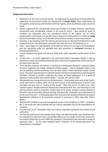 Shostakovich Symphony No. 5: Revision Sheet (MUSC4)