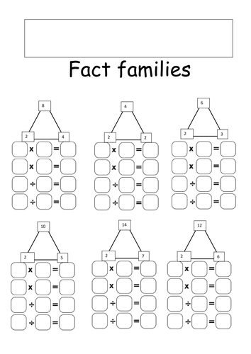 Fact families - Division and multiplication 2, 5 and 10 by ...