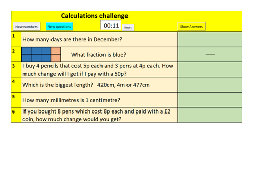 Year 3 Randomised maths questions