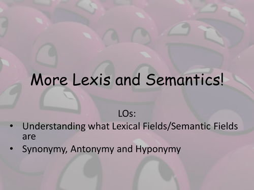 Lexical Fields and Synonymy etc.
