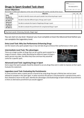 graded task sheet on drugs in sport by kanzi1979 teaching