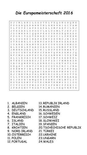 Euro 2016 - countries - wordsearch and crossword