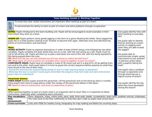 SEND Team Building Lesson Plans