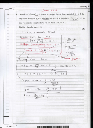 M3 Edexcel Jan 2009 Model answers