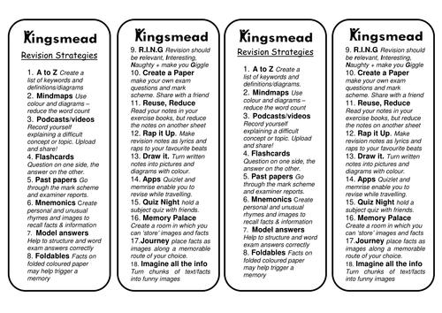 Revision Strateiges Bookmark forKS3/ KS4/KS5 by TRJ