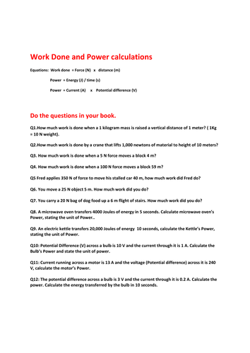 Power and Work done worksheet by akhan047 | Teaching Resources