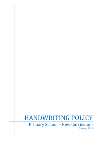 Handwriting Policy - New Curriculum