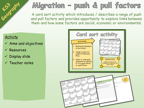 KS3 Geography - Activity - Migration - Push and pull factors