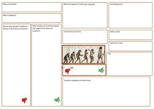 Balanced argument/debate planning sheet- English/Science/RE
