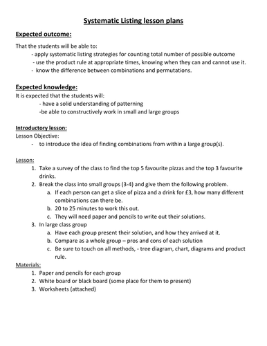 Systematic Listing (tree diagrams) Lesson plans