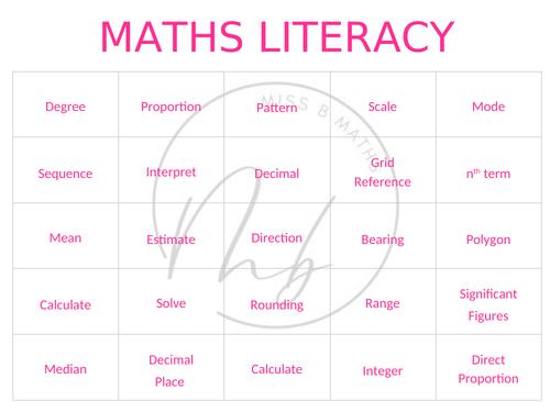 Maths Key Words Memory Game