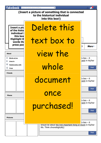 History Fakebook ICT Template (in Word)