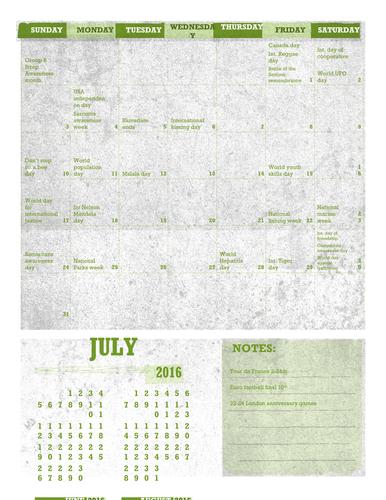 May to November awareness day calendar