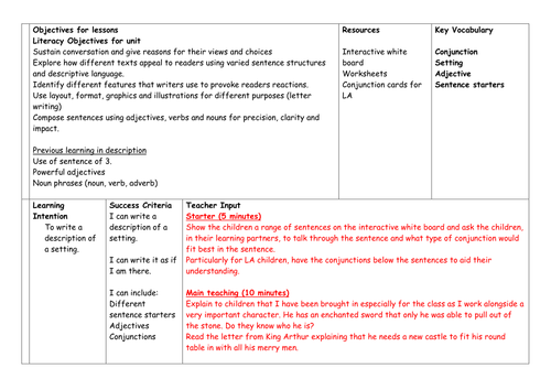 Setting description - Year 2 - New Curriculum - Differentiated task - Lesson plan and activity