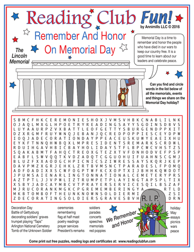 remember on memorial day word search puzzle by puzzlefun teaching