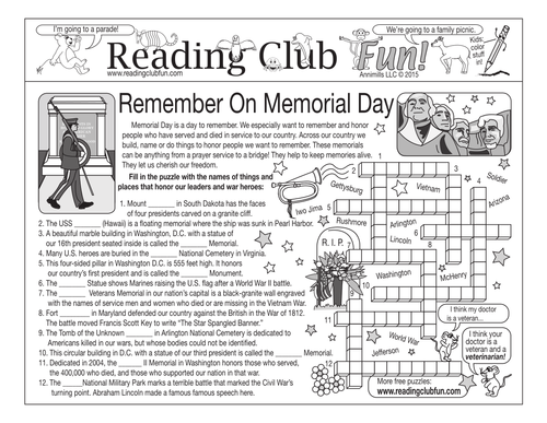 Bundle: Remember On Memorial Day Two-Page Activity Set and Word Search Puzzle