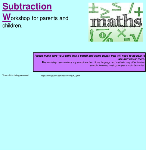 KS1 Subtraction: Workshop for parents, Worded problems and Calculation generation poster.