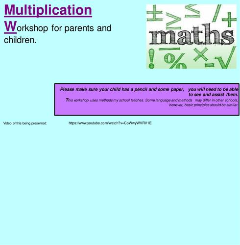 KS1 Multiplication: Workshop for parents, Worded problems and Calculation generation poster.