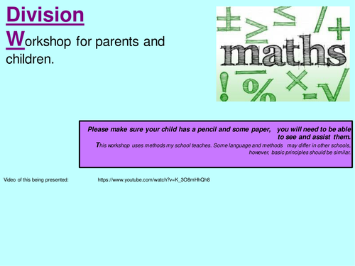 KS1 Division: Workshop for parents, Worded problems and Calculation generation poster.
