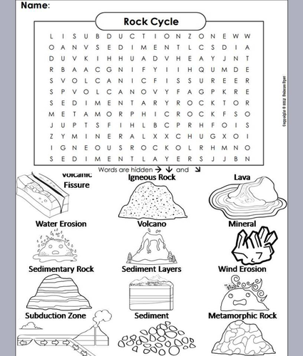 Rock Cycle Word Search Coloring Book By Sciencespot