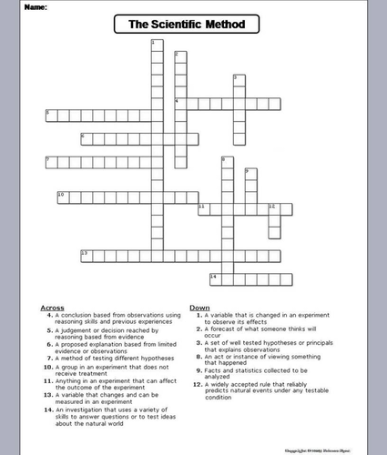Scientific Method Crossword Puzzle by ScienceSpot ...