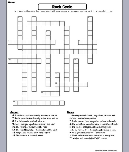 Rock Cycle Crossword Puzzle by ScienceSpot - Teaching Resources - Tes
