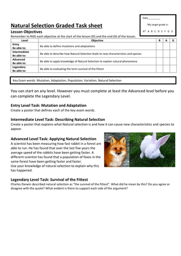 Graded Task sheet on Natural Selection
