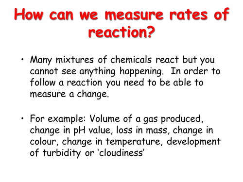 Chemistry AQA C2/C3 Rates of Reaction and Electrolysis