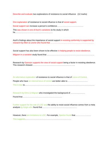 12 mark essay writing frame AO1/A03 for resistance to social influence   new spec AQA