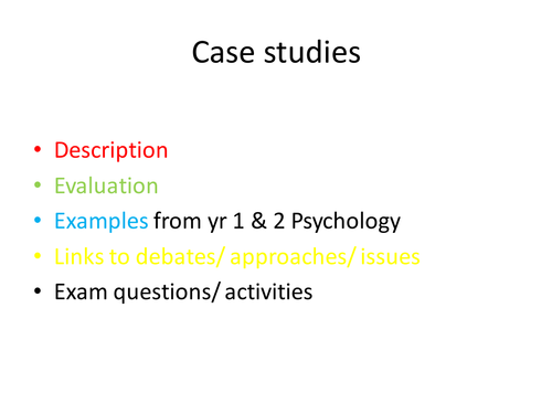 Case studies: outline & evaluation; links to issues, debates & approaches
