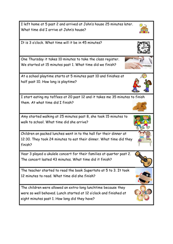 Time Word Problems