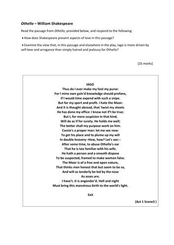 romeo juliet printable essay plan worksheet by maz teaching  aqa a lta othello extract question