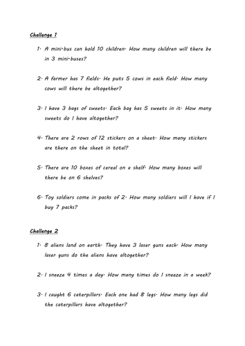 Multiplication Word Problems (Year 3)