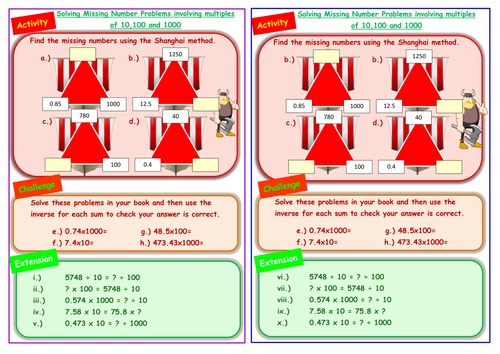 Missing numbers - the equals sign - multiplying and dividing by 10 ...