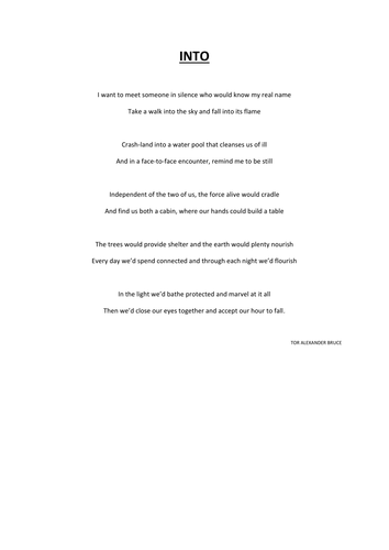 UNSEEN POETRY: INTO (Example of rhyming couplets)