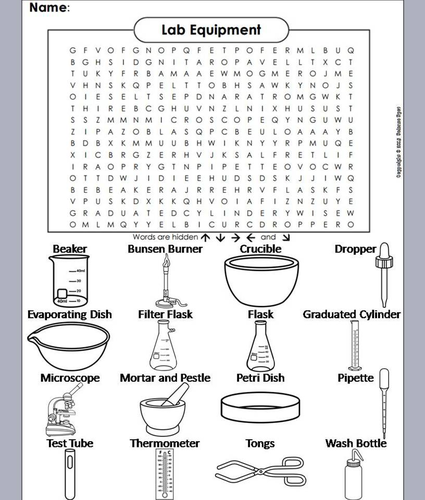 Lab Equipment Word Search