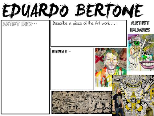 Key Stage 4- Art and Design:  Eduardo Bertone worksheets
