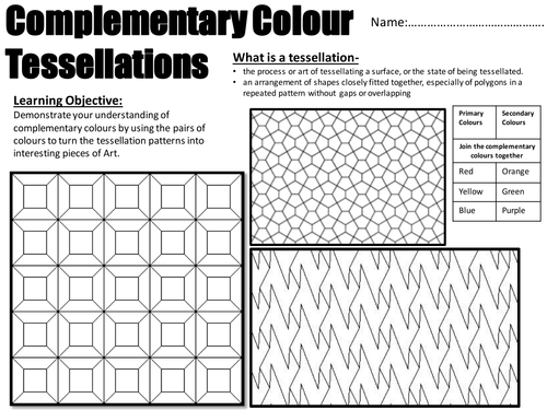 Year 7 Art and DesignComplementry Colours utilizing – Tessellations Worksheet