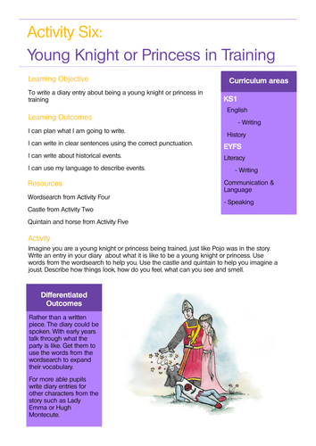 Knights and Castles sample lesson plan linked to story