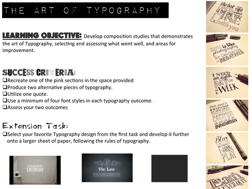 Art and Design: Creating hand drawn Typography