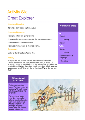 Egypt and Explorers Sample Lesson Linked to Story