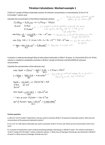 A-Level Titration Calculations Worked Examples and Practice ...